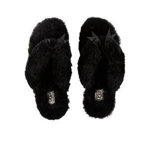NWT UGG Black Fluff Flip Flop 2 ii Slippers